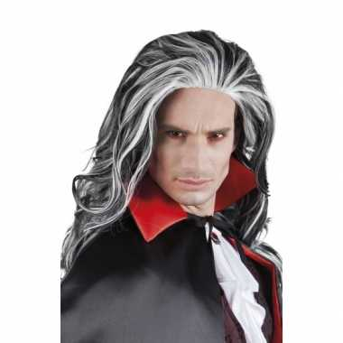 Carnavalskleding grijs witte pruik vampier