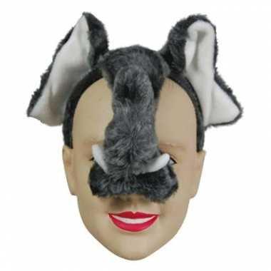 Carnavalskleding grijze olifanten maskers diadeem