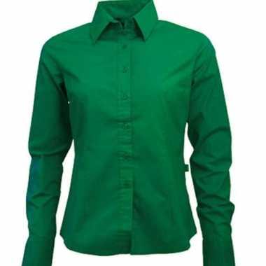 Carnavalskleding groen gekleurd dames overhemd lange mouwen