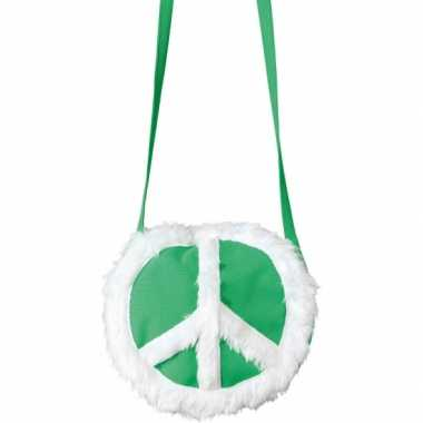 c50b81ed19d86a Groen hippie tasje peace teken carnavalskleding Den Bosch ...