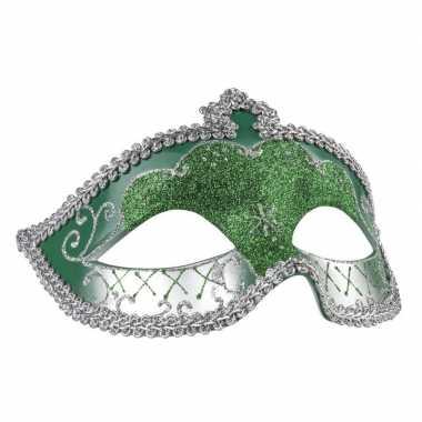 Groen/zilver mysterieus oogmasker dames carnavalskleding den bosch