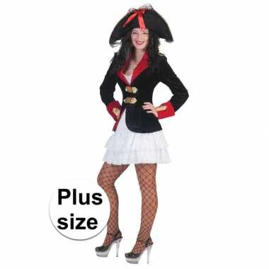Grote maat dames piraten verkleed jurkje jas carnavalskleding den bos