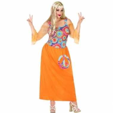 Grote maat oranje hippie jurk cirkels dames carnavalskleding den bosc