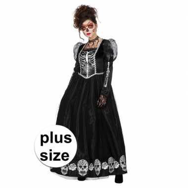 Grote maat zwarte halloween day of the dead jurk dames carnavalskledi