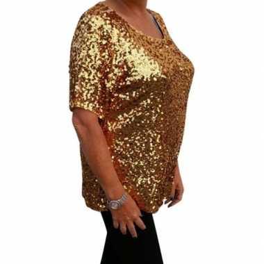 Grote maten glitter pailletten shirt goud dames xl ( ) carnavalskledi