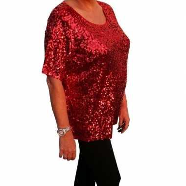 Grote maten glitter pailletten shirt rood dames xl ( ) carnavalskledi