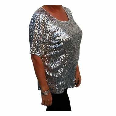 Grote maten glitter pailletten shirt zilver dames xl ( ) carnavalskle