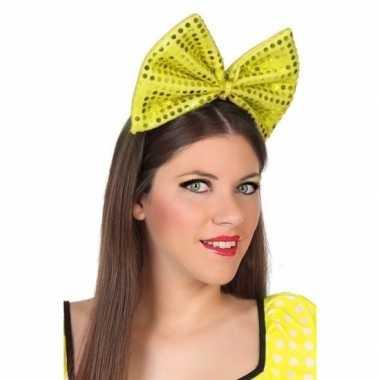 Haarband grote strik geel pailletten dames carnavalskleding den bosch