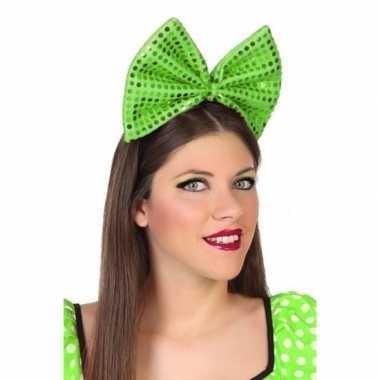 Haarband grote strik groen pailletten dames carnavalskleding den bosc