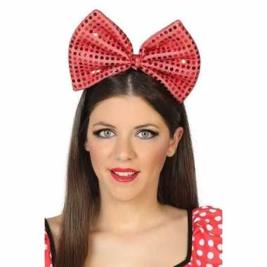 Haarband grote strik rood pailletten dames carnavalskleding den bosch