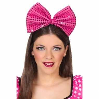 Haarband grote strik roze pailletten dames carnavalskleding den bosch