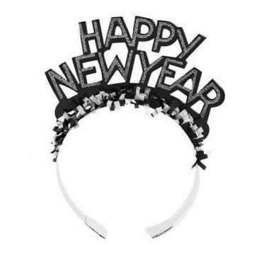 Haarband happy new year zwart volwassenen carnavalskleding den bosch