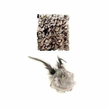 Haarspeld zilveren bloem carnavalskleding den bosch