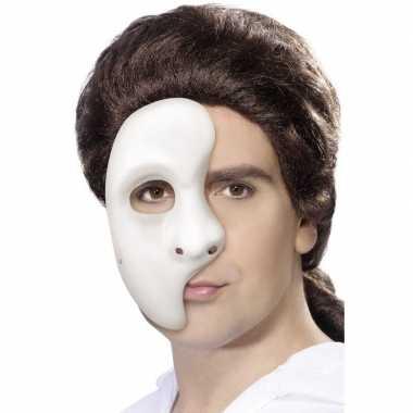 Half gezichtsmasker wit heren carnavalskleding den bosch
