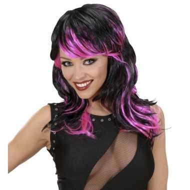Carnavalskleding halflange damespruik zwart roze