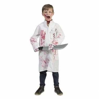 Halloween bebloed doktersjas dokterslogo maat carnavalskleding den bo