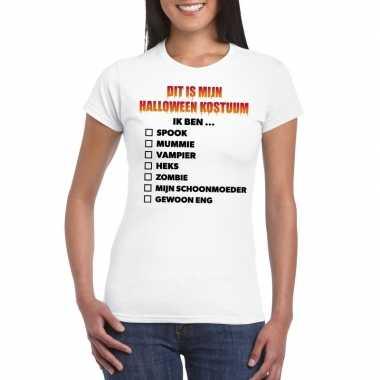 Halloween dames shirt checklist wit carnavalskleding den bosch