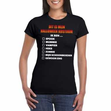 Halloween dames shirt checklist zwart carnavalskleding den bosch