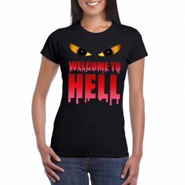 Halloween duivel shirt zwart dames welcome to hell carnavalskleding d