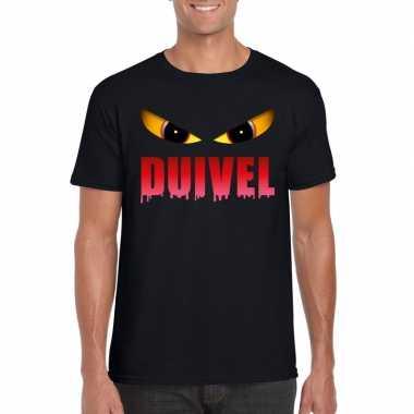 Halloween duivels ogen shirt zwart heren carnavalskleding den bosch