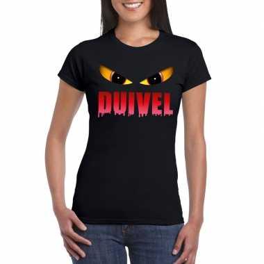 Halloween duivelsogen shirt zwart dames carnavalskleding den bosch
