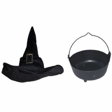 Halloween feest/party heks verkleedaccessoires heksenhoed ketel dames