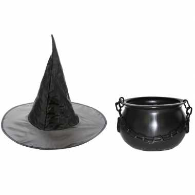 Halloween feest/party heks verkleedaccessoires heksenhoed ketel meisj