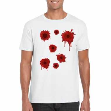 Halloween/ gangster schotwonden shirt wit heren carnavalskleding bosc