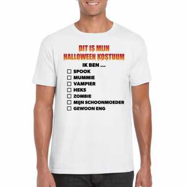 Halloween heren shirt checklist wit carnavalskleding den bosch