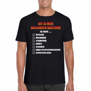 Halloween heren shirt checklist zwart carnavalskleding den bosch