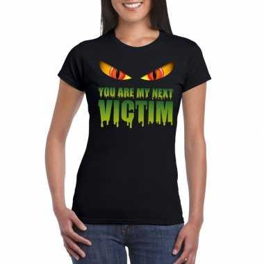 Halloween monster shirt zwart dames you are my next victim carnavalsk