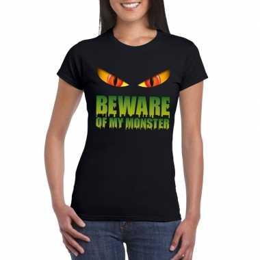 Halloween shirt zwart dames beware of my monster carnavalskleding den