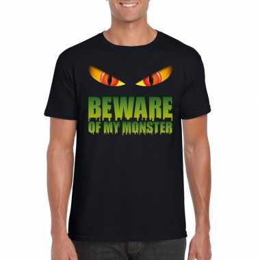 Halloween shirt zwart heren beware of my monster carnavalskleding den