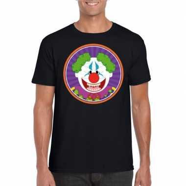 Halloween terror clown shirt zwart heren carnavalskleding den bosch
