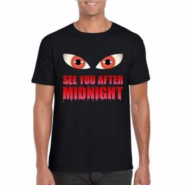 Halloween vampier shirt zwart heren see you after midnight carnavalsk