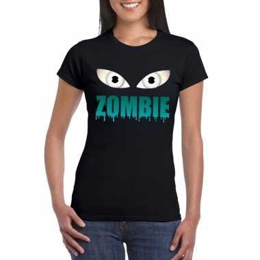 Halloween zombie ogen shirt zwart dames carnavalskleding den bosch