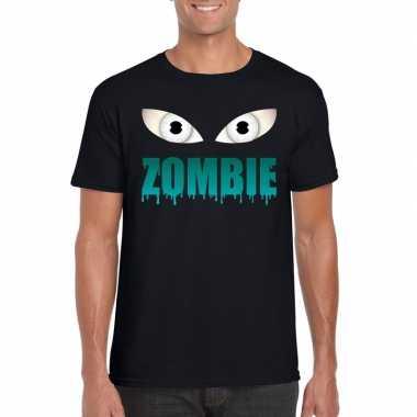 Halloween zombie ogen shirt zwart heren carnavalskleding den bosch