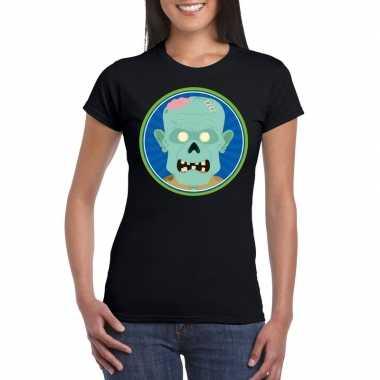 Halloween zombie shirt zwart dames carnavalskleding den bosch