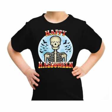 Happy halloween horror skelet shirt zwart kinderen carnavalskleding d