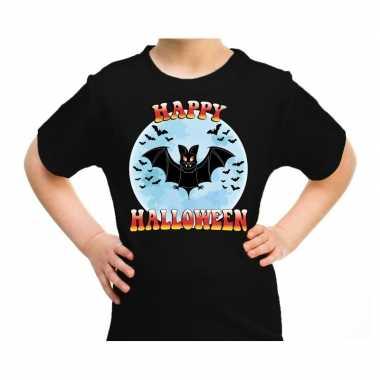 Happy halloween horror vleermuisje shirt zwart kinderen carnavalskled