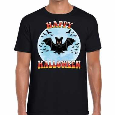 Happy halloween vleermuizen horror shirt zwart heren carnavalskleding