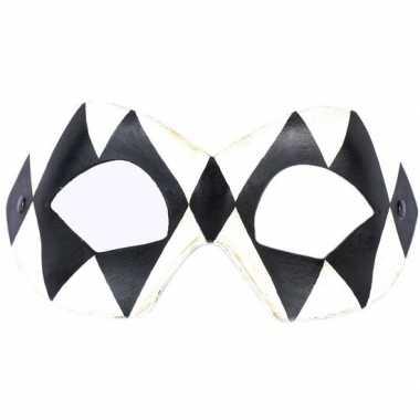 Harlekijn oogmasker zwart/wit volwassenen carnavalskleding den bosch
