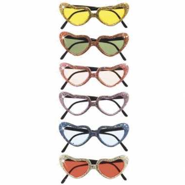 Carnavalskleding hatvormige glitterbril