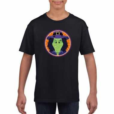 Heksen halloween t shirt zwart jongens meisjes carnavalskleding den b
