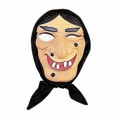 Heksenmasker zwarte haren plastic carnavalskleding den bosch