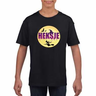 Carnavalskleding heksje halloween t-shirt zwart meisjes