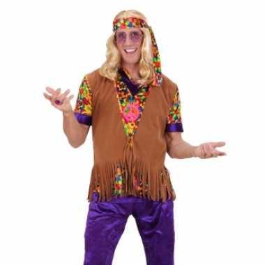 Carnavalskleding heren hippie vest franje