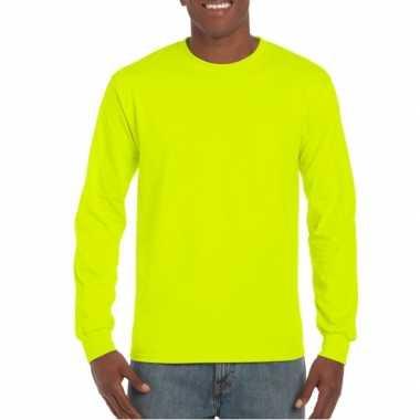 Carnavalskleding heren shirt lange mouwen lichtgevend geel