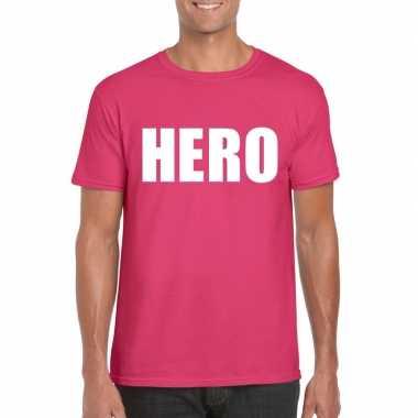 Hero fun t shirt roze heren carnavalskleding den bosch