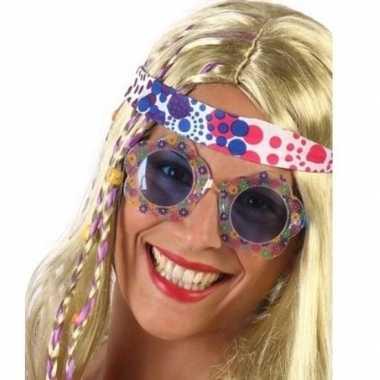 Hippie feestbril blauwe glazen volwassenen carnavalskleding den bosch